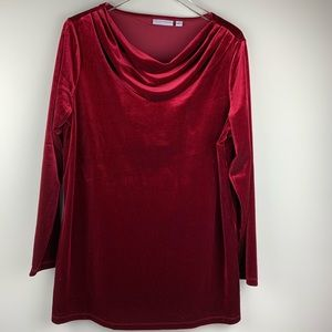 Susan Graver Velvet Red Tunic Top